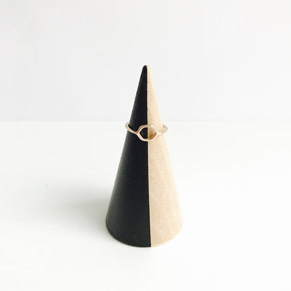 Black Striped + Beechwood Ring Cone
