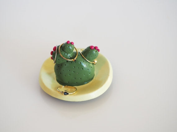 Olive Green Cactus Ring Holder Dish