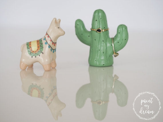 Llama + Cactus Ring Holder Set
