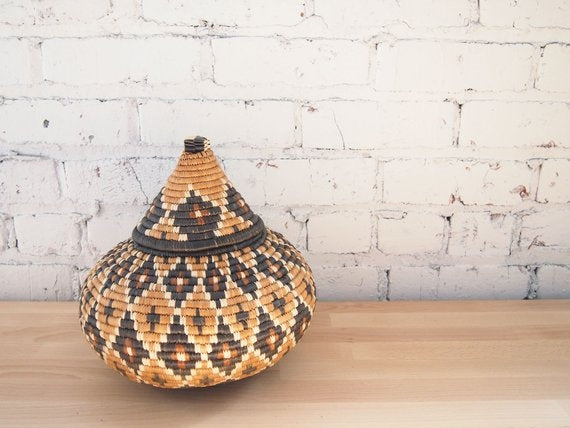 Hand-Dyed Beer Lidded Basket