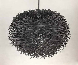 Black Rattan Birds Nest Pendant
