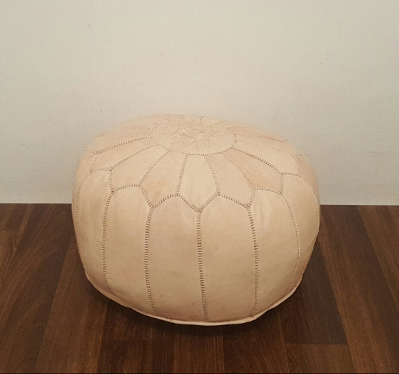 Peaches + Cream Leather Pouf
