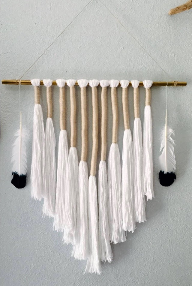 Dip Dyed Feather Wall Hanging