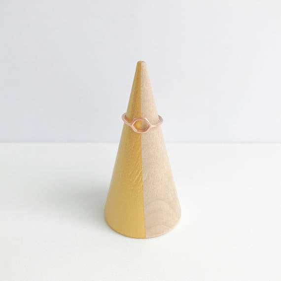 Gold Striped + Beechwood Ring Cone