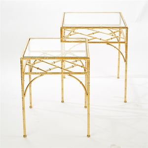 Pavillion Gold Leaf Planter Nesting Tables-Set of 2