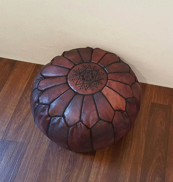 Berber Deep Sienna Black Threads Pouf