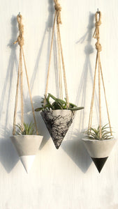 Inga Hanging Concrete Planters-Set of 3