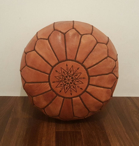 Berber Brown Silk Threads Pouf