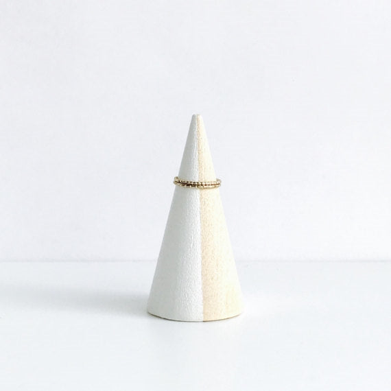 White Striped + Beechwood Ring Cone