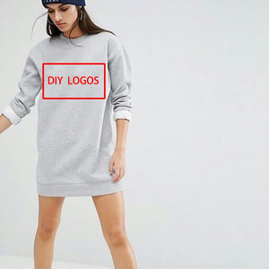 DIY Print Cotton Sweat-dress O Neck Woman Dress Casual Straight Print Full Sleeve High Quality Sweater-dress