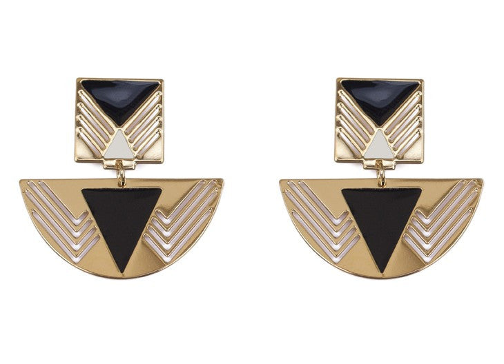 Chic Alors Black-White Felini Earrings