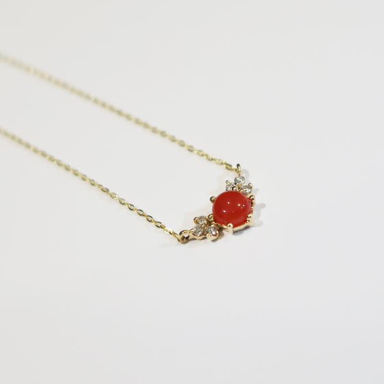 Coral Diamond Necklace
