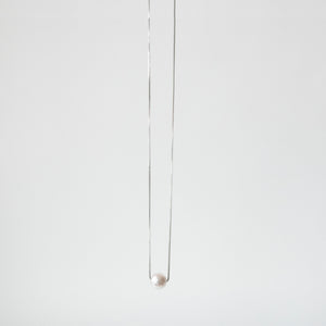 Single Akoya Pearl Necklace <br> 925 Silver </br>
