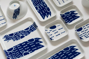 (PREORDER) Singapore Blue | Supermama and TOUCH SpecialCrafts 21cm Square White Tray