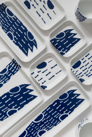 (PREORDER) Singapore Blue | Supermama and TOUCH SpecialCrafts 10.5cm White Tray