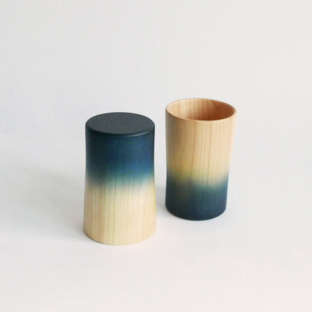 Indigo Dyed Cypress Wood Pair of 2 Cups