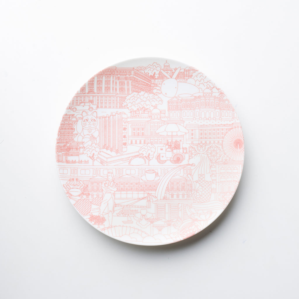Nanyang Porcelain <br> The Singapore Collage (16cm Pink) </br>