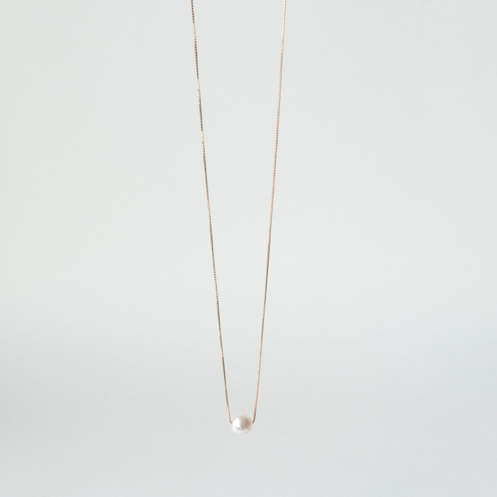 Single Akoya Pearl Necklace <br> 18k Yellow Gold </br>