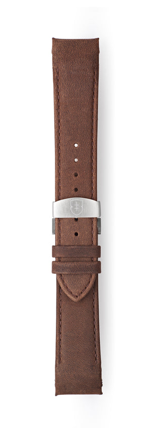 STR-L12: Matt Mid Brown Tapered Leather Deployant