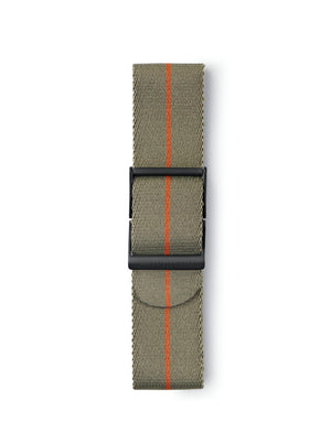 STR-N09: Grey-Green with Burnt Orange Pinstripe Webbing Strap