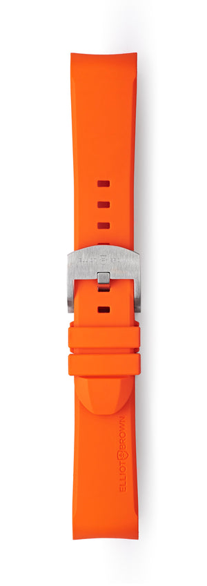 STR-R05: Orange Rubber Strap with brushed buckle