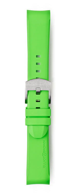 STR-R11: Acid Green Rubber Strap with brushed buckle