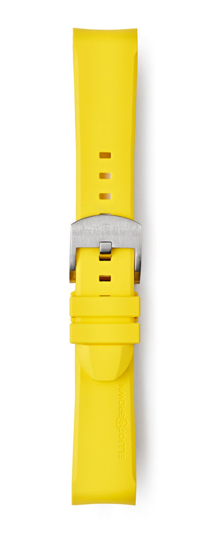 STR-R12: Yellow Rubber Strap with Brushed Buckle