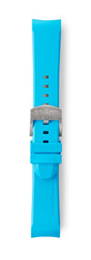 STR-R15: Cyan Rubber Strap with brushed buckle