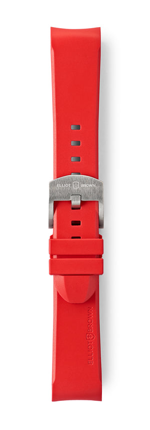 STR-R16: Red Rubber Strap with brushed buckle