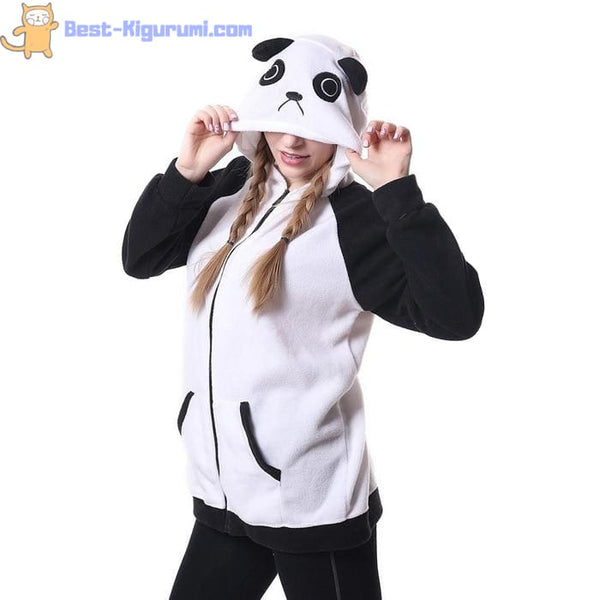Fleece Panda Hoodie with Ears-bestkigurumi