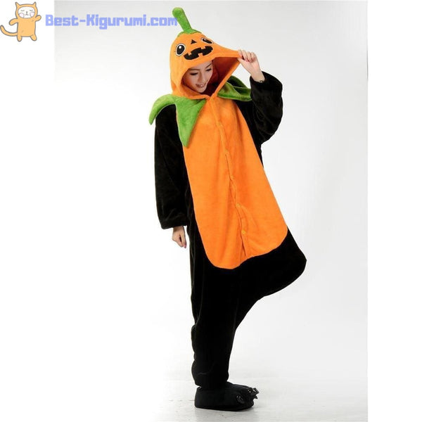 Adult Pumpkin Costume | Onesie Pajamas for Women & Men - Fleece halloween Holiday