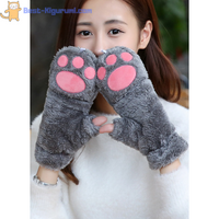 Animal Paw Fingerless Mittens with Flap-Best Kigurumi