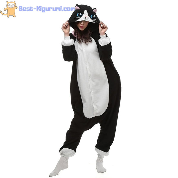 Black Cat Onesie for Adults | Kigurumi Style Adult Onesie Pajamas-bestkigurumi