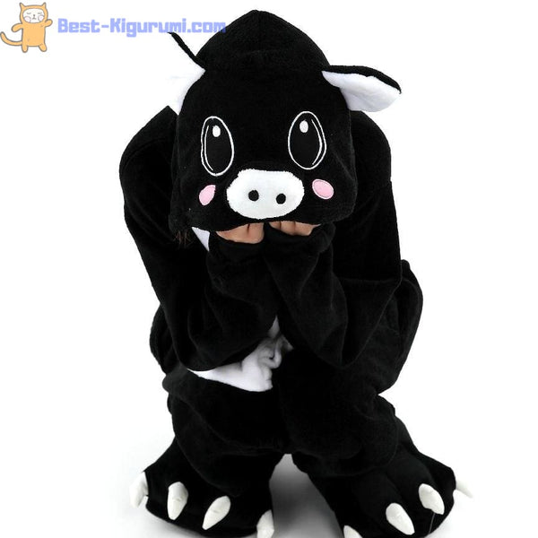 Black Pig Onesie Pajamas | Kigurumis for Adults - flannel flannel animal
