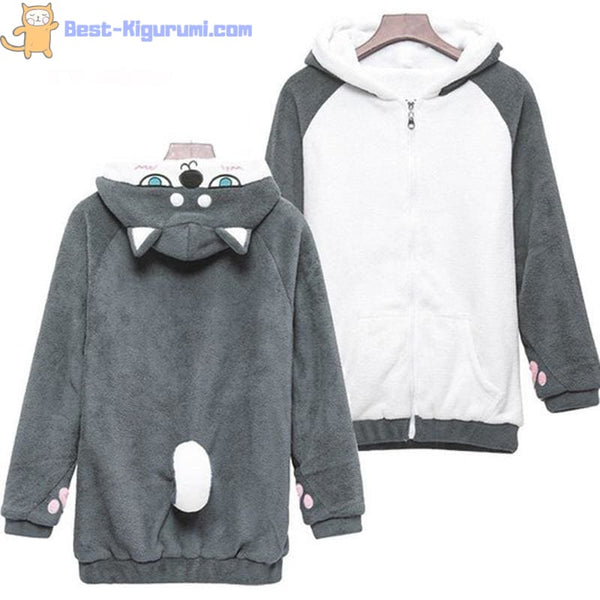Fleece Dog Hoodie with Ears and Tail-bestkigurumi
