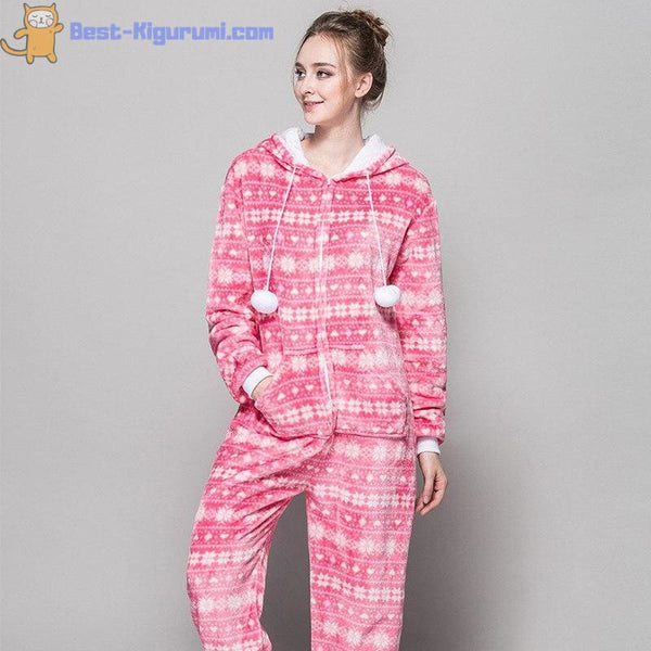 Pink Christmas Onesie Pajamas for Adults - Pink / S