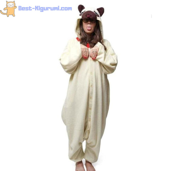 Pug Dog Onesie for Adults | Kigurumi Style Adult Onesie Pajamas-bestkigurumi