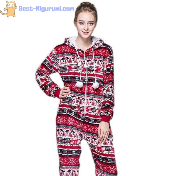 Red Christmas Onesie Pajamas for Adults