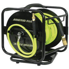 "Load image into Gallery viewer, 1/4"" X 100 Feet Manual Air Hose Reel w/ Hybrid Polymer Air Hose"