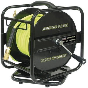 "1/4"" X 100 Feet Manual Air Hose Reel w/ Hybrid Polymer Air Hose"