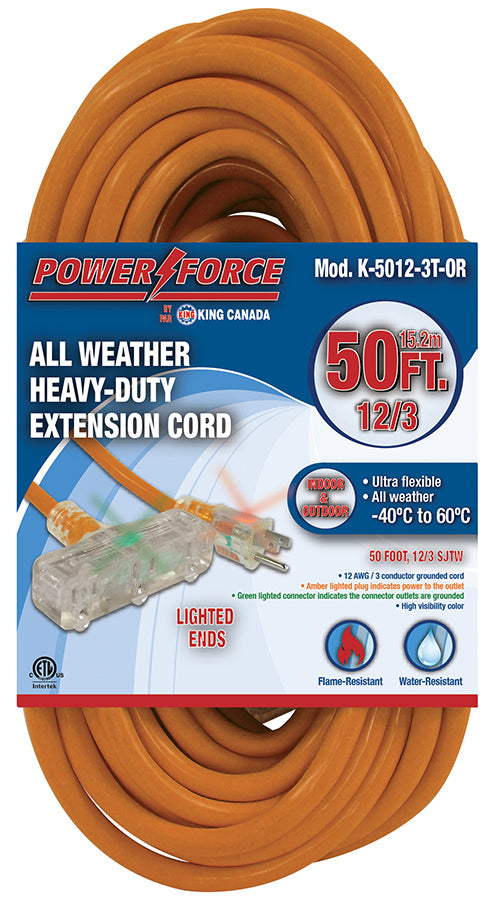 50 Feet Triple Tap Extension Cord