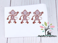 monkey embroidery, sketch design, sketch embroidery, machine embroidery, five little monkeys embroidery design, sketch embroidery design, trio embroidery design, sketch monkey trio embroidery design, chimp embroidery design