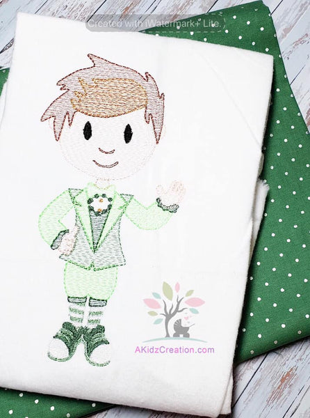 irish boy, sketch design, st particks day design, akidzcreation, embroidery