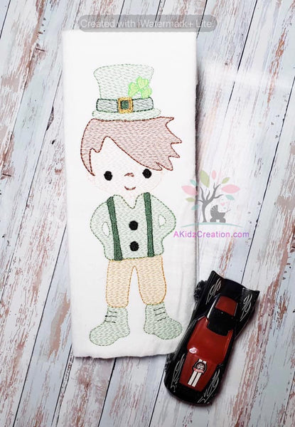 leprechaun embroidery, embroidery, machine embroidery, sketch design, sketch embroidery, irish embroidery, shamrock embroidery,