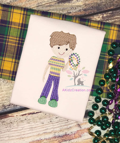mardi gras boy embroidery design, akidzcreation, mardi gras beads design, mardi gras embroidery