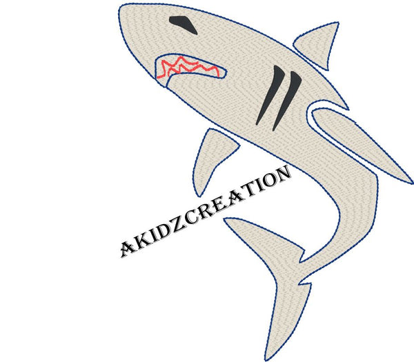 sketch embroidery design, sketch shark, shark design, sketch embroidery