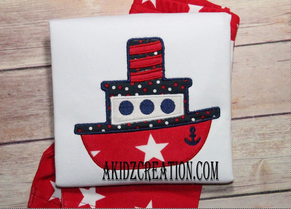 tug boat embroidery, boat embroidery, vehicle embroidery, transportation embroidery, tug boat applique,