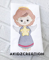 sketch angel embroidery design, angel embroidery design, christian embroidery design, religious embroidery design, angel with star embroidery design, christmas embroidery design