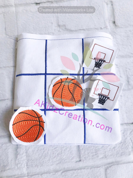 ith tic tac toe board, ith basketball, ith basketball hoop, ith game, ith embroidery game, travel tic tac toe board, basketball embroidery, basketball hoop embroidery, in the hoop embroidery