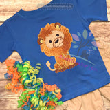 lion applique, blanket stitch lion, lion embroidery, zoo animal embroidery